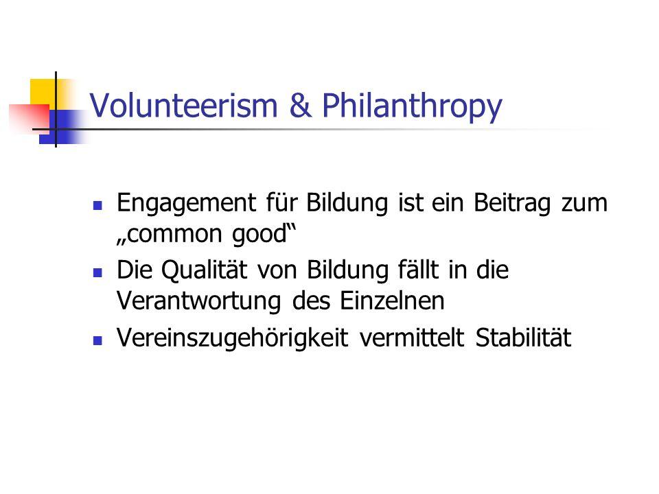 Volunteerism & Philanthropy Engagement für Bildung ist ein Beitrag zum common good Die Qualität von Bildung fällt in die Verantwortung des Einzelnen Vereinszugehörigkeit vermittelt Stabilität