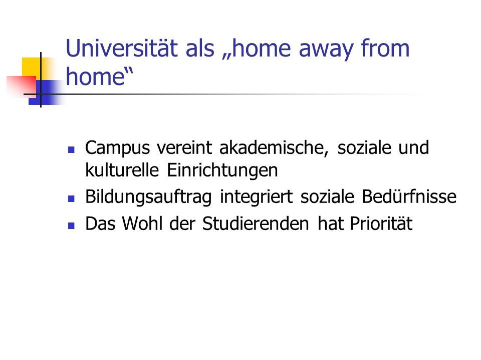 Universität als home away from home Campus vereint akademische, soziale und kulturelle Einrichtungen Bildungsauftrag integriert soziale Bedürfnisse Das Wohl der Studierenden hat Priorität