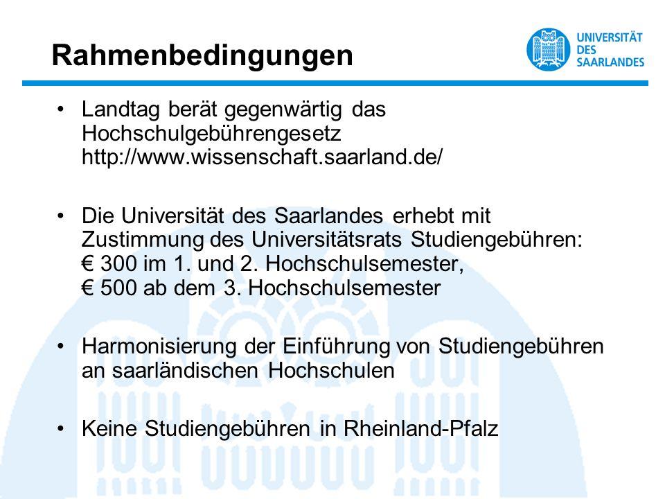 Rahmenbedingungen Landtag berät gegenwärtig das Hochschulgebührengesetz http://www.wissenschaft.saarland.de/ Die Universität des Saarlandes erhebt mit