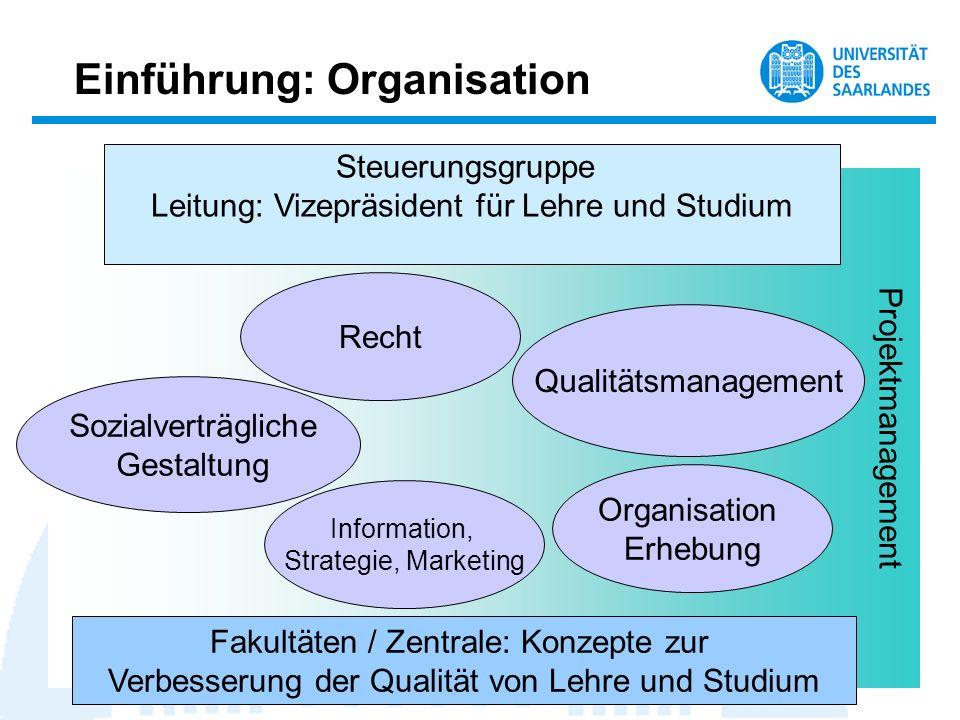 Einführung: Organisation Projektmanagement Steuerungsgruppe Leitung: Vizepräsident für Lehre und Studium Sozialverträgliche Gestaltung Recht Informati
