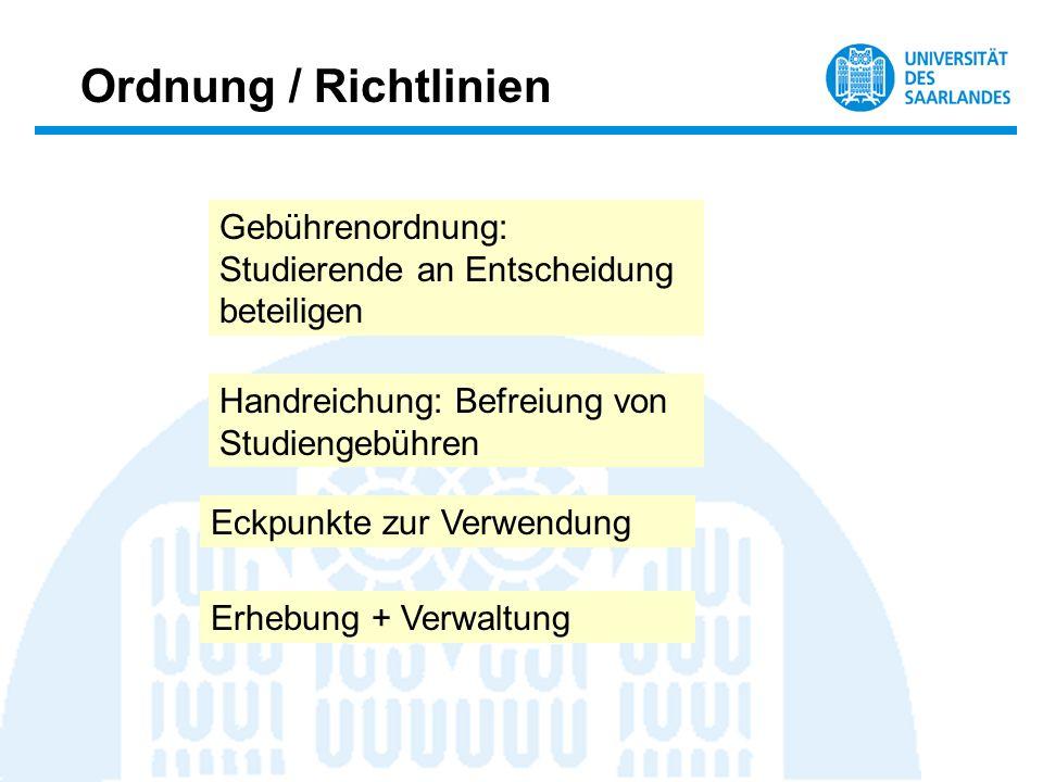 Ordnung / Richtlinien Gebührenordnung: Studierende an Entscheidung beteiligen Handreichung: Befreiung von Studiengebühren Erhebung + Verwaltung Eckpun
