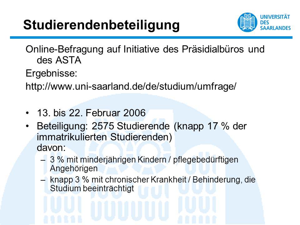 Studierendenbeteiligung Online-Befragung auf Initiative des Präsidialbüros und des ASTA Ergebnisse: http://www.uni-saarland.de/de/studium/umfrage/ 13.