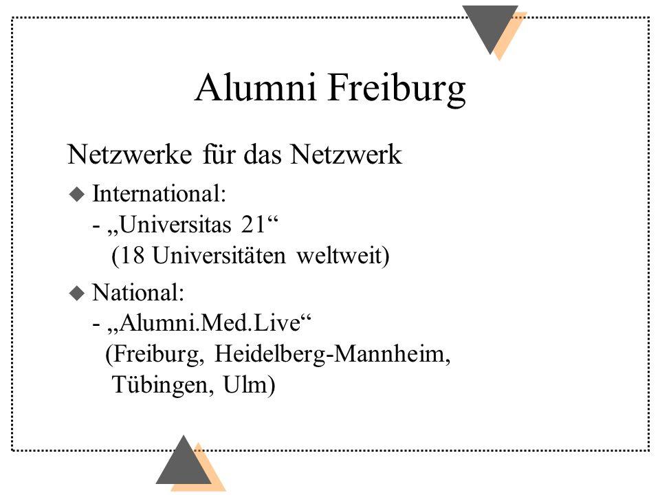 Alumni Freiburg Netzwerke für das Netzwerk u International: - Universitas 21 (18 Universitäten weltweit) u National: - Alumni.Med.Live (Freiburg, Heidelberg-Mannheim, Tübingen, Ulm)