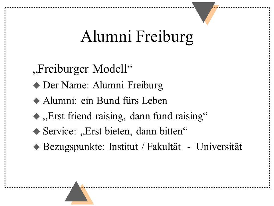 Alumni Freiburg Freiburger Modell u Der Name: Alumni Freiburg u Alumni: ein Bund fürs Leben u Erst friend raising, dann fund raising u Service: Erst bieten, dann bitten u Bezugspunkte: Institut / Fakultät - Universität