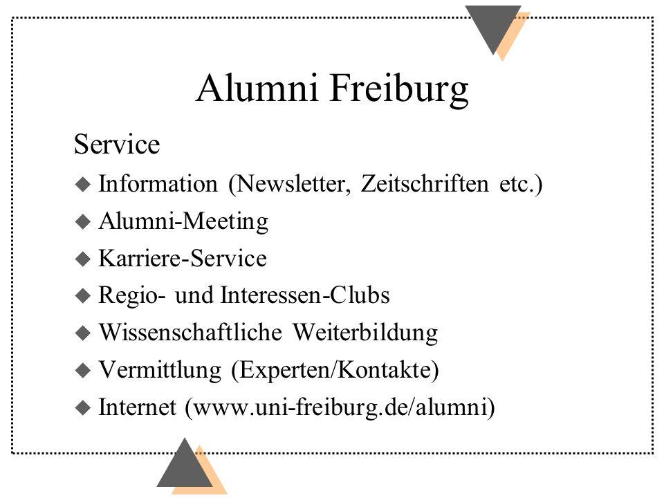 Alumni Freiburg Service u Information (Newsletter, Zeitschriften etc.) u Alumni-Meeting u Karriere-Service u Regio- und Interessen-Clubs u Wissenschaftliche Weiterbildung u Vermittlung (Experten/Kontakte) u Internet (www.uni-freiburg.de/alumni)
