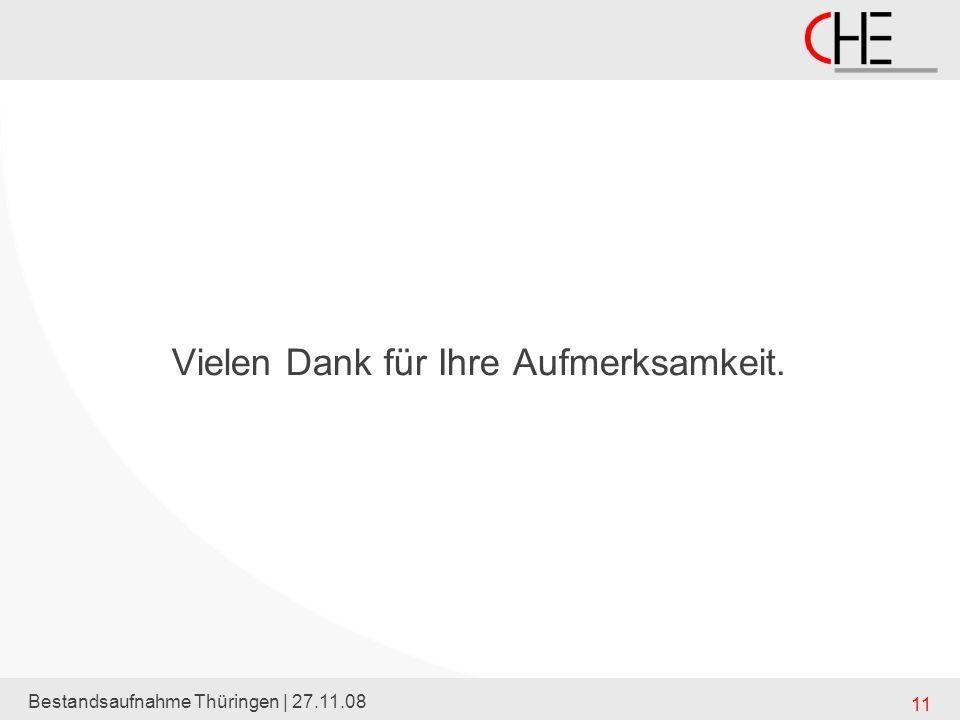 Bestandsaufnahme Thüringen | 27.11.08 11 Vielen Dank für Ihre Aufmerksamkeit.