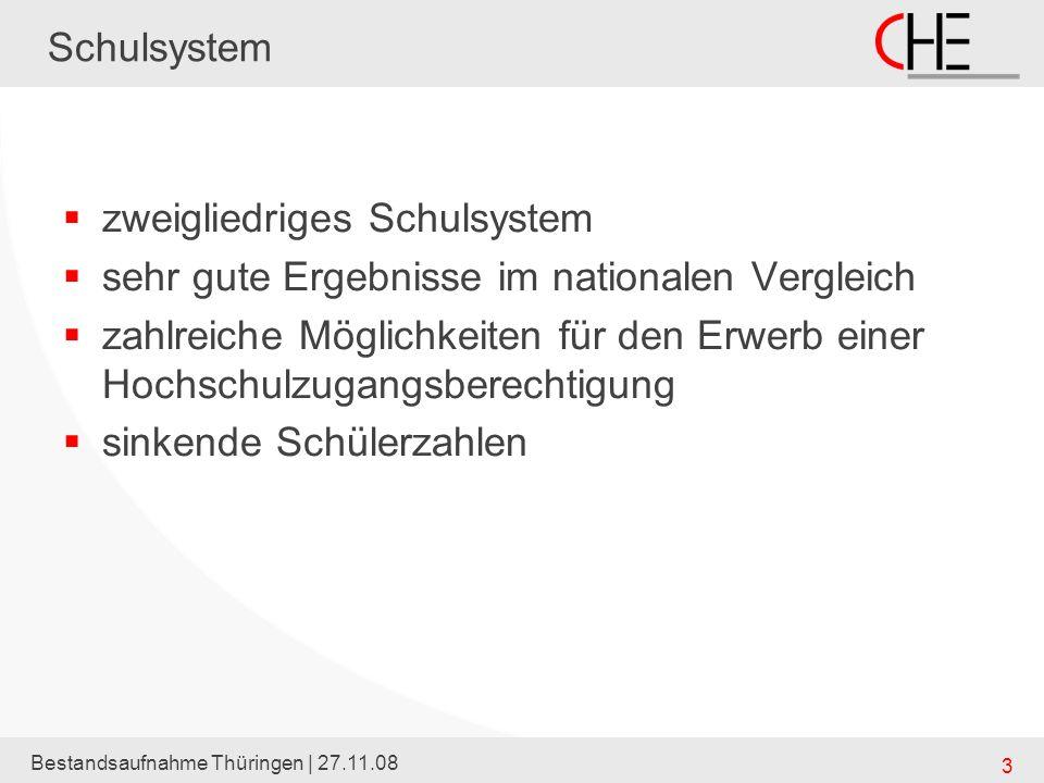 Bestandsaufnahme Thüringen | 27.11.08 3 Schulsystem zweigliedriges Schulsystem sehr gute Ergebnisse im nationalen Vergleich zahlreiche Möglichkeiten f