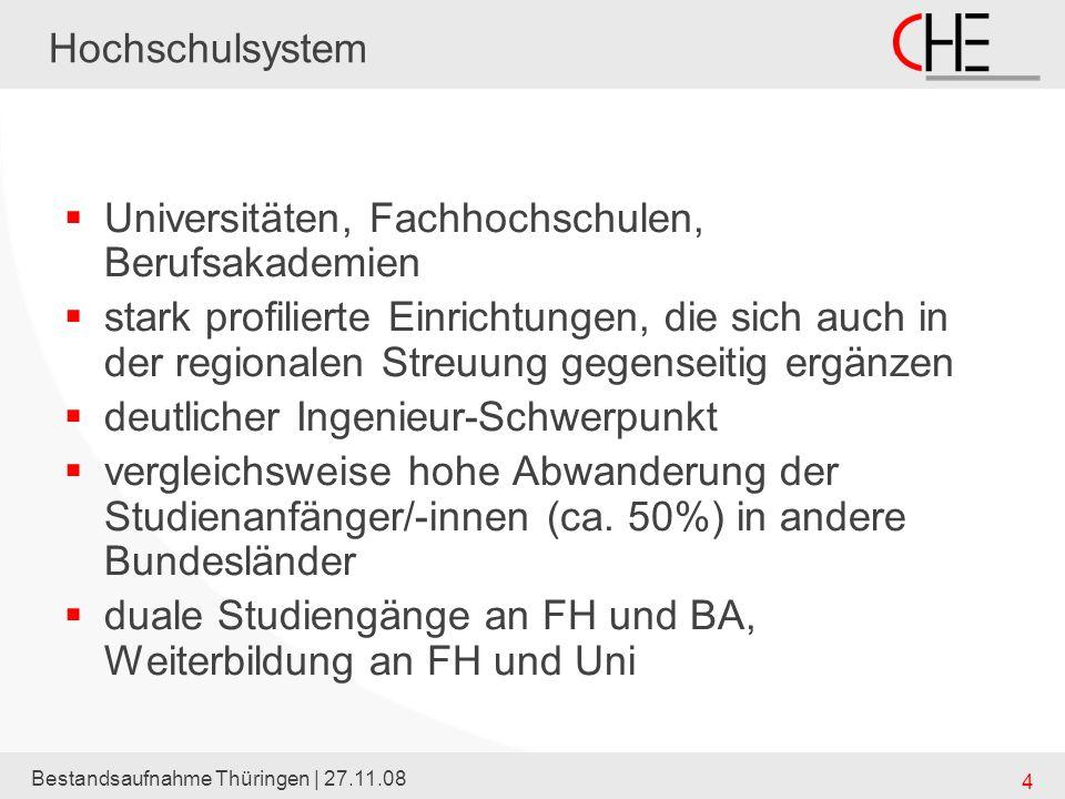 Bestandsaufnahme Thüringen | 27.11.08 4 Hochschulsystem Universitäten, Fachhochschulen, Berufsakademien stark profilierte Einrichtungen, die sich auch