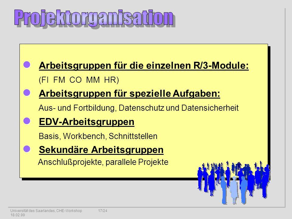 Universität des Saarlandes, CHE-Workshop 18.02.99 17/24 Arbeitsgruppen für die einzelnen R/3-Module: (FI FM CO MM HR) Arbeitsgruppen für spezielle Aufgaben: Aus- und Fortbildung, Datenschutz und Datensicherheit EDV-Arbeitsgruppen Basis, Workbench, Schnittstellen Sekundäre Arbeitsgruppen Anschlußprojekte, parallele Projekte Arbeitsgruppen für die einzelnen R/3-Module: (FI FM CO MM HR) Arbeitsgruppen für spezielle Aufgaben: Aus- und Fortbildung, Datenschutz und Datensicherheit EDV-Arbeitsgruppen Basis, Workbench, Schnittstellen Sekundäre Arbeitsgruppen Anschlußprojekte, parallele Projekte