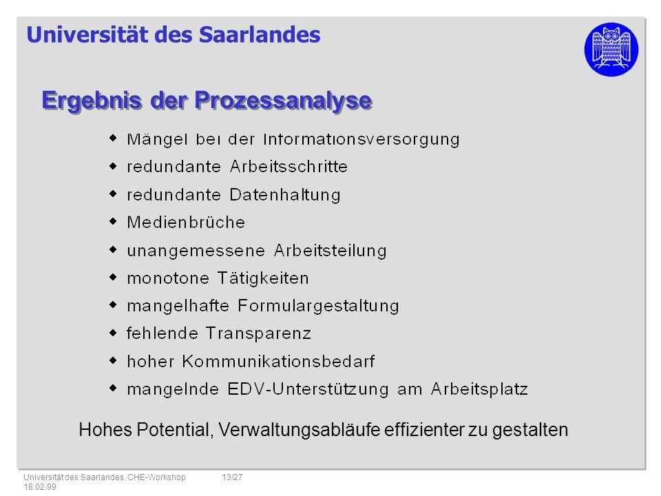 Universität des Saarlandes Universität des Saarlandes, CHE-Workshop 18.02.99 13/27 Hohes Potential, Verwaltungsabläufe effizienter zu gestalten Ergebnis der Prozessanalyse