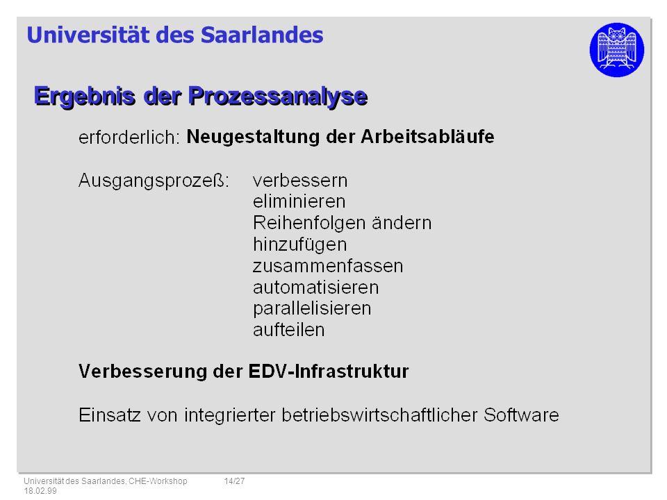 Universität des Saarlandes Universität des Saarlandes, CHE-Workshop 18.02.99 14/27 Ergebnis der Prozessanalyse