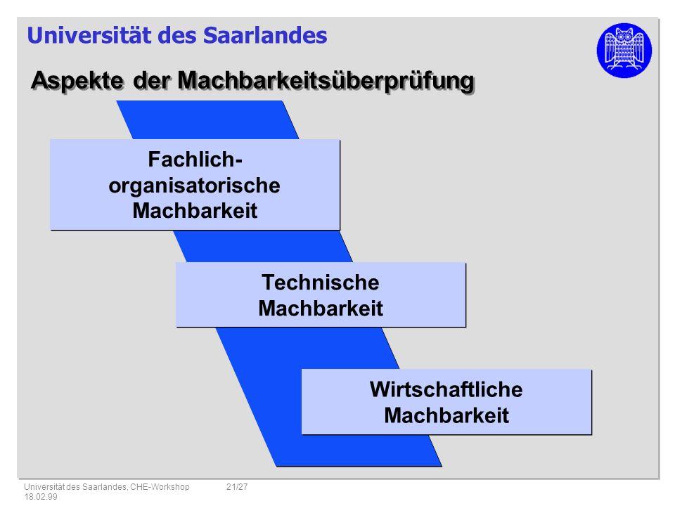 Universität des Saarlandes Universität des Saarlandes, CHE-Workshop 18.02.99 21/27 Aspekte der Machbarkeitsüberprüfung Fachlich- organisatorische Machbarkeit Fachlich- organisatorische Machbarkeit Technische Machbarkeit Technische Machbarkeit Wirtschaftliche Machbarkeit Wirtschaftliche Machbarkeit