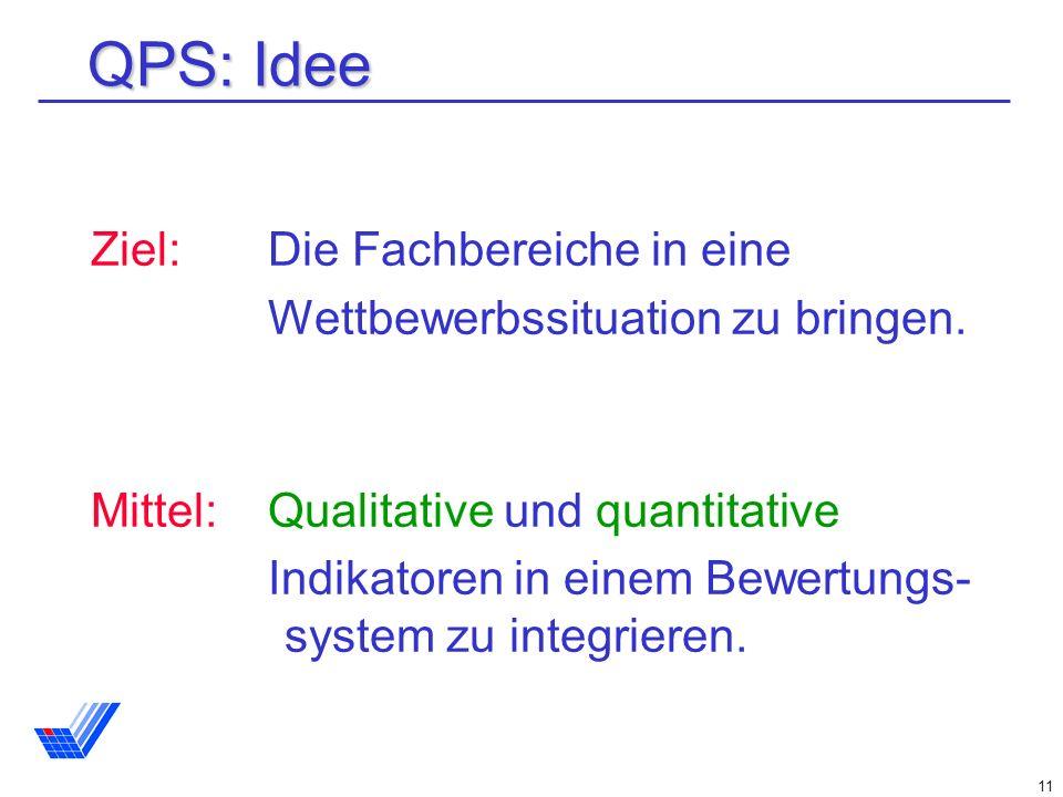 11 QPS: Idee Ziel: Die Fachbereiche in eine Wettbewerbssituation zu bringen.