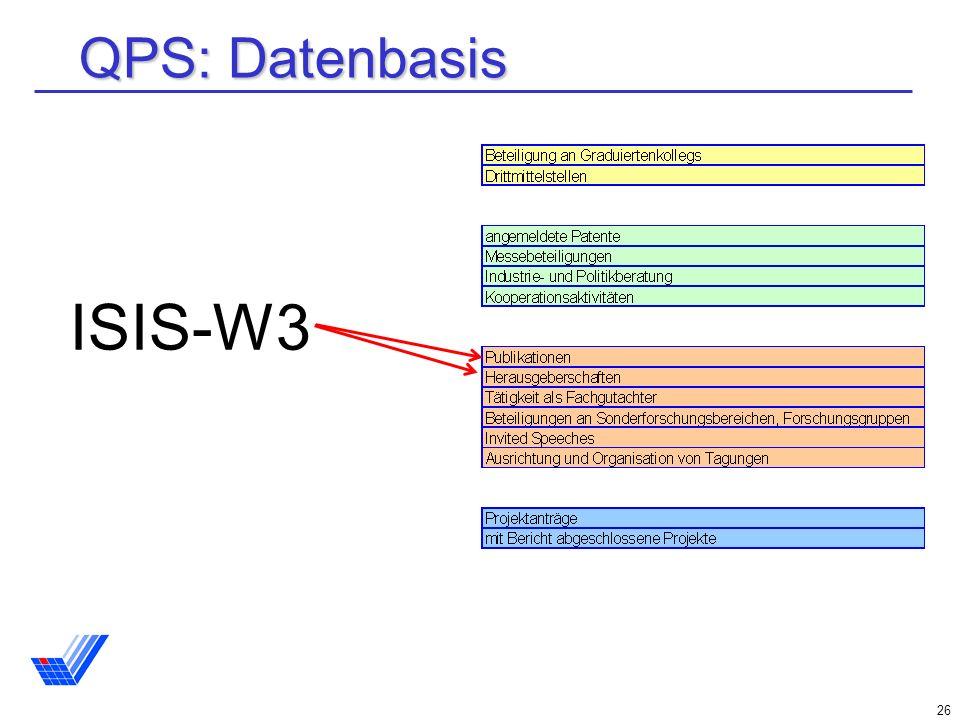26 QPS: Datenbasis ISIS-W3