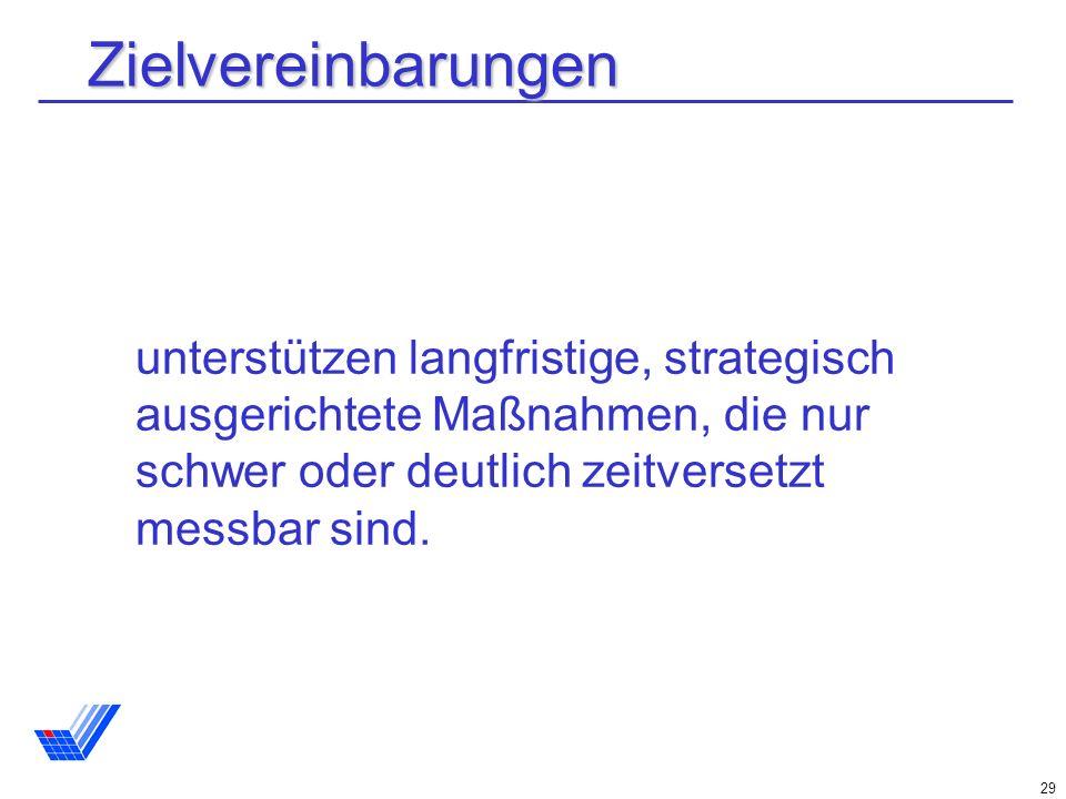 29 Zielvereinbarungen unterstützen langfristige, strategisch ausgerichtete Maßnahmen, die nur schwer oder deutlich zeitversetzt messbar sind.