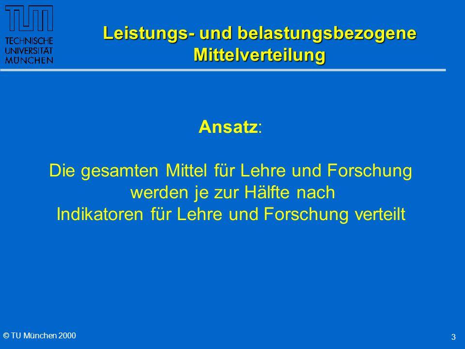 © TU München 2000 3 Leistungs- und belastungsbezogene Mittelverteilung Ansatz: Die gesamten Mittel für Lehre und Forschung werden je zur Hälfte nach Indikatoren für Lehre und Forschung verteilt