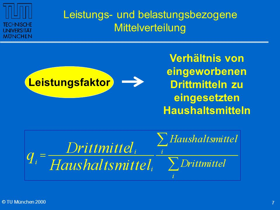 © TU München 2000 6 Leistungs- und belastungsbezogene Mittelverteilung Mittel für die Forschung 40% Grundausstattung nach Stellen Gewichtung: C4 : C3 : Wiss 7 : 3,5 : 1,5 Ge : Nat : Ing 1 : 2,5 : 3 40% nach Drittmitteln Gewichtung Ge.