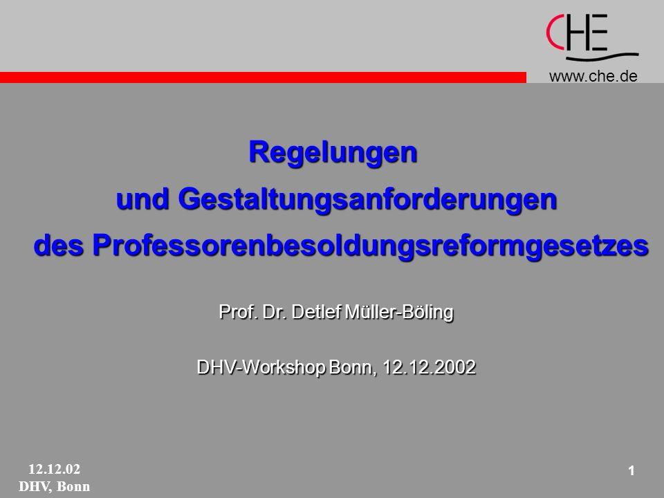 www.che.de 12.12.02 DHV, Bonn 2 Bundesgesetz Profilbildung der Hochschulen leistungs- und funktionsdifferenzierte Gehälter wettbewerbsfähige Vergütungsstrukturen Ziele