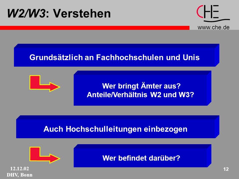 www.che.de 12.12.02 DHV, Bonn 12 W2/W3: Verstehen Auch Hochschulleitungen einbezogen Grundsätzlich an Fachhochschulen und Unis Wer bringt Ämter aus.