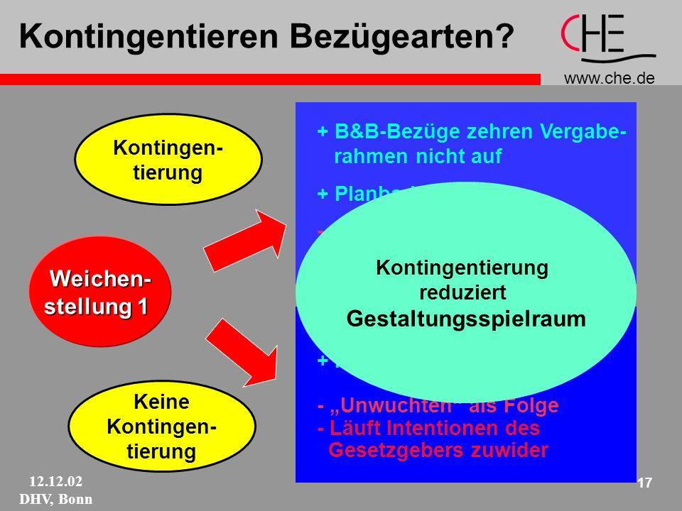 www.che.de 12.12.02 DHV, Bonn 17 Kontingentieren Bezügearten.
