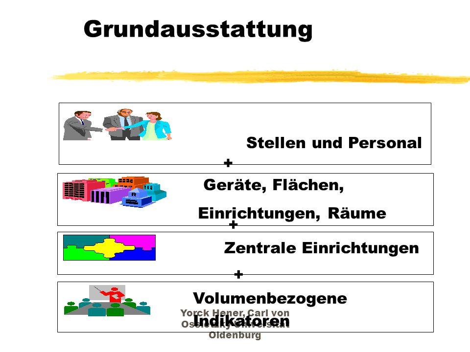 Yorck Hener, Carl von Ossietzky Universität Oldenburg Grundausstattung Stellen und Personal Geräte, Flächen, Einrichtungen, Räume Zentrale Einrichtung