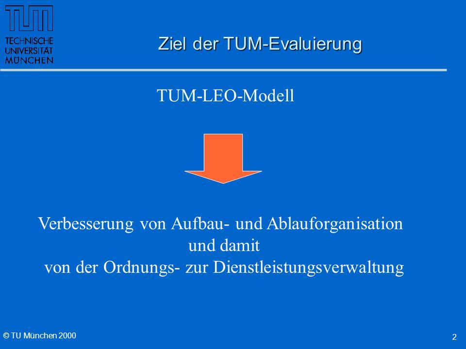 © TU München 2000 2 Ziel der TUM-Evaluierung TUM-LEO-Modell Verbesserung von Aufbau- und Ablauforganisation und damit von der Ordnungs- zur Dienstleistungsverwaltung