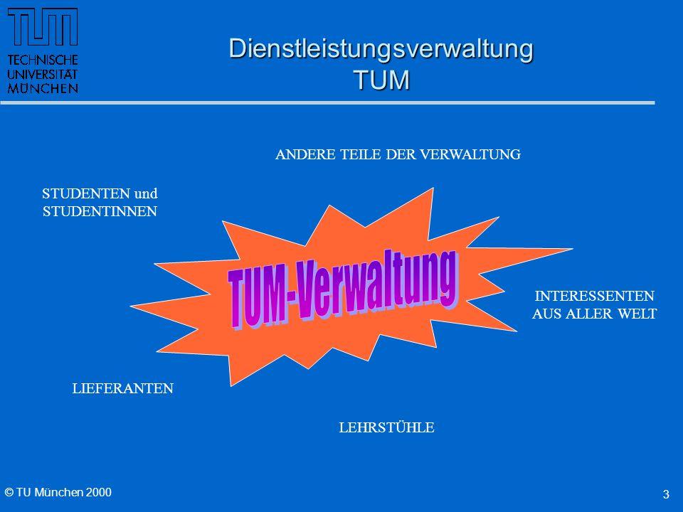 © TU München 2000 4 Lehrstühle als Kunden der TUM ALS DIENSTLEISTER FÜR DIE LEHRSTÜHLE KONZENTRATION AUF FORSCHUNG UND LEHRE