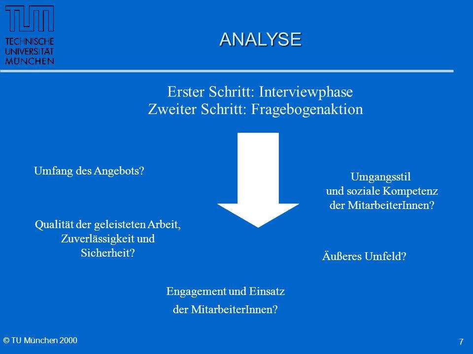 © TU München 2000 7 ANALYSE Erster Schritt: Interviewphase Umfang des Angebots.