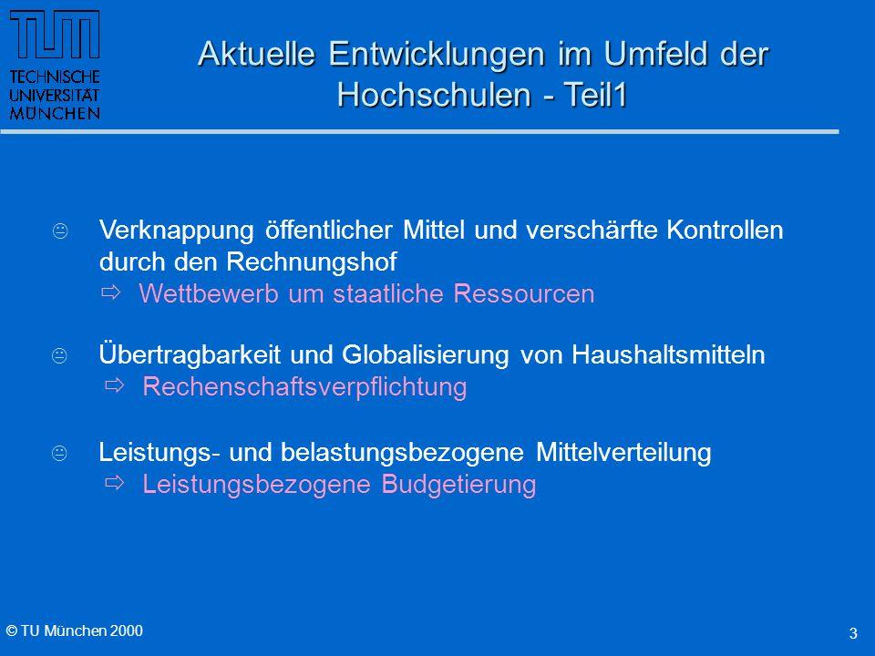 © TU München 2000 3 K Verknappung öffentlicher Mittel und verschärfte Kontrollen durch den Rechnungshof Wettbewerb um staatliche Ressourcen Aktuelle E