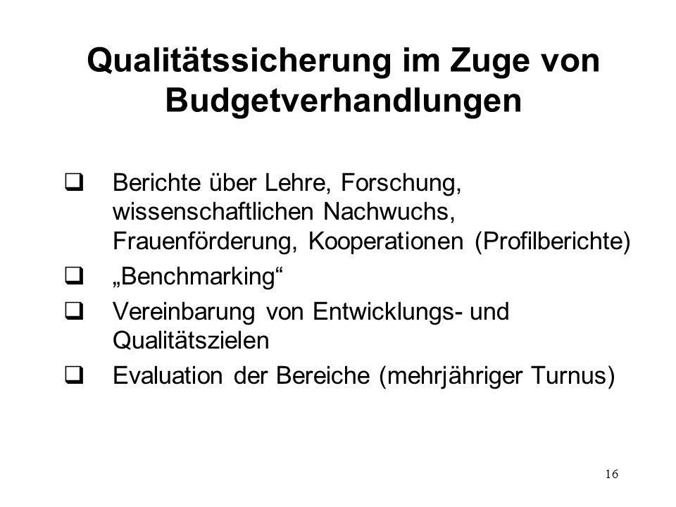 16 Qualitätssicherung im Zuge von Budgetverhandlungen Berichte über Lehre, Forschung, wissenschaftlichen Nachwuchs, Frauenförderung, Kooperationen (Pr