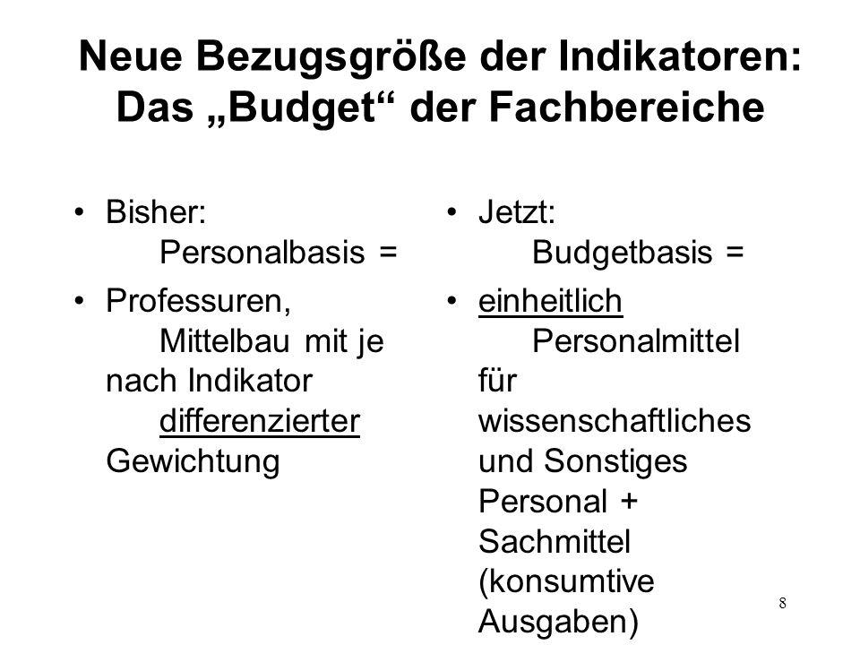8 Neue Bezugsgröße der Indikatoren: Das Budget der Fachbereiche Bisher: Personalbasis = Professuren, Mittelbau mit je nach Indikator differenzierter G