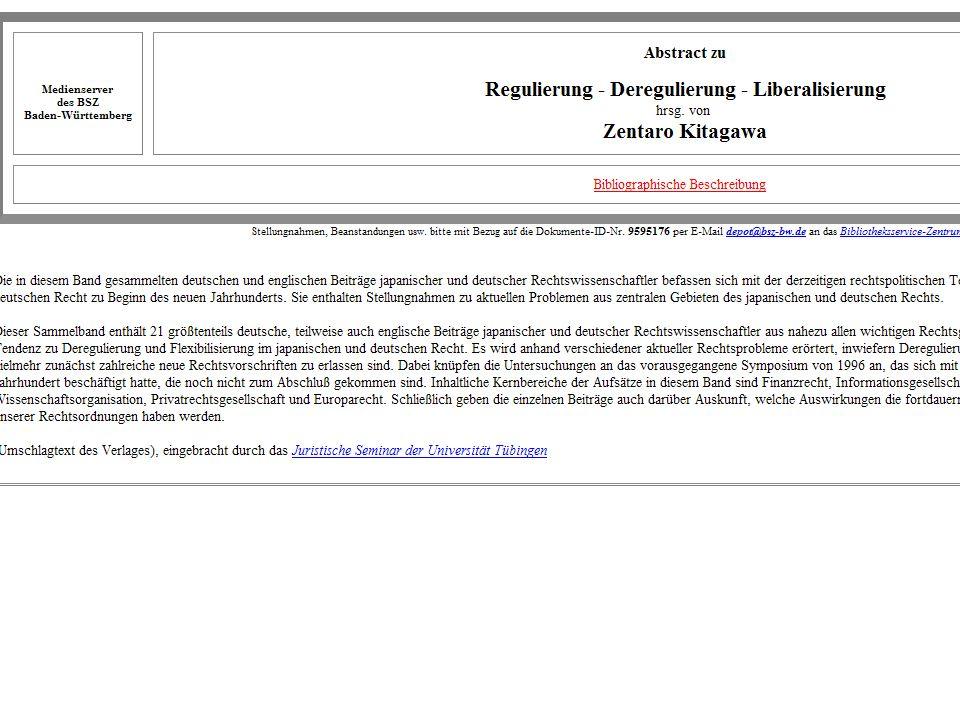 21.11. 2003Dr. Klaus-Rainer Brintzinger Juristisches Seminar Tübingen Folie 19 OPAC Juristisches Seminar