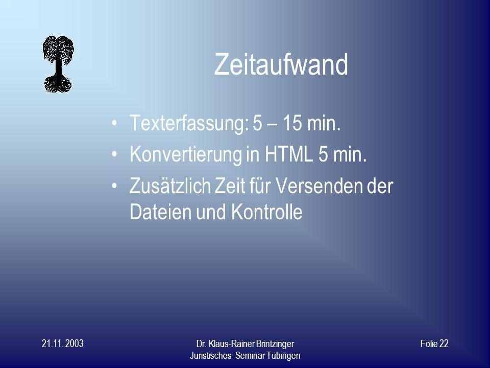 21.11. 2003Dr. Klaus-Rainer Brintzinger Juristisches Seminar Tübingen Folie 21 SWB-OPAC