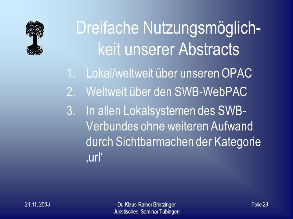 21.11. 2003Dr. Klaus-Rainer Brintzinger Juristisches Seminar Tübingen Folie 22 Zeitaufwand Texterfassung: 5 – 15 min. Konvertierung in HTML 5 min. Zus
