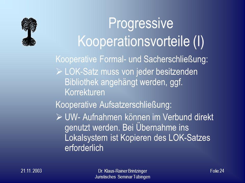 21.11. 2003Dr. Klaus-Rainer Brintzinger Juristisches Seminar Tübingen Folie 23 Dreifache Nutzungsmöglich- keit unserer Abstracts 1.Lokal/weltweit über
