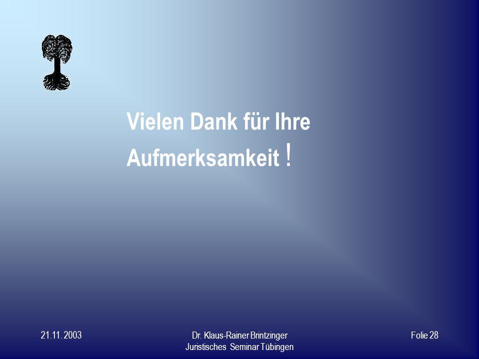 21.11. 2003Dr. Klaus-Rainer Brintzinger Juristisches Seminar Tübingen Folie 27 Weiterentwicklung und Ausbau Möglichkeiten: Einzelverhandlung mit Verla