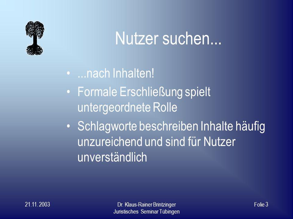21.11. 2003Dr. Klaus-Rainer Brintzinger Juristisches Seminar Tübingen Folie 2 Die entscheidenden Fragen... Was suchen Nutzer in Bibliotheken? Was woll