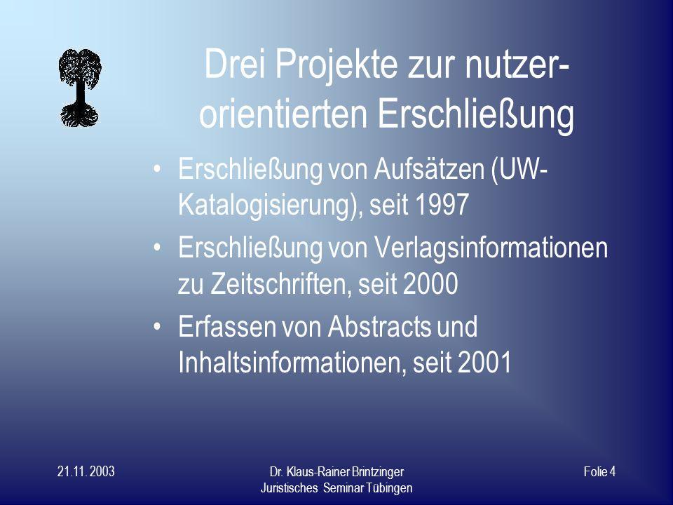 21.11. 2003Dr. Klaus-Rainer Brintzinger Juristisches Seminar Tübingen Folie 3 Nutzer suchen......nach Inhalten! Formale Erschließung spielt untergeord