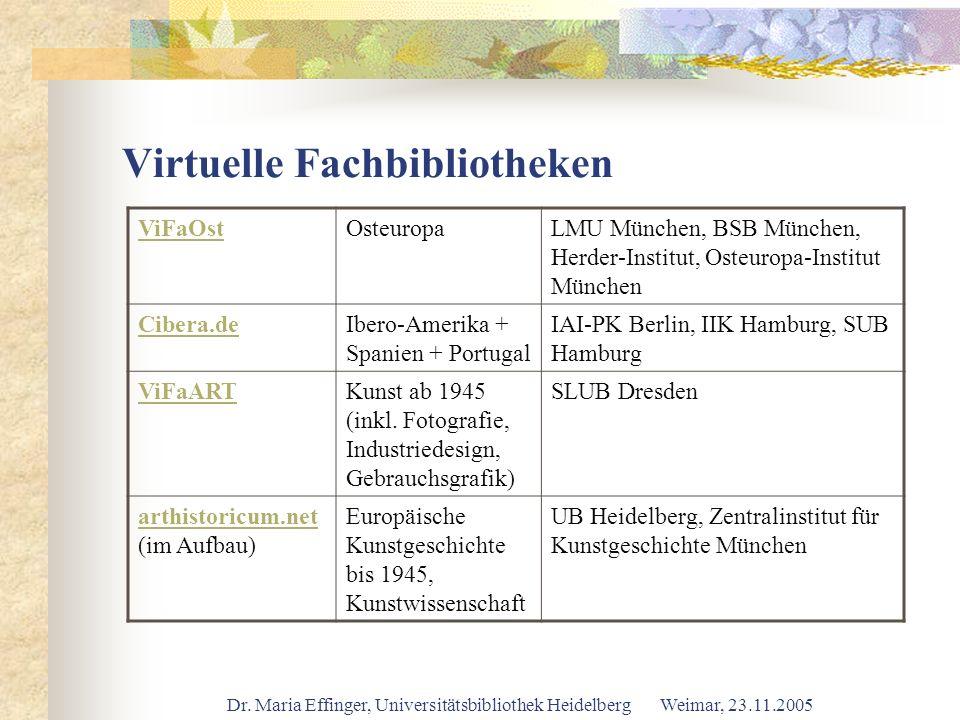 Dr. Maria Effinger, Universitätsbibliothek Heidelberg Weimar, 23.11.2005 Virtuelle Fachbibliotheken ViFaOstOsteuropaLMU München, BSB München, Herder-I