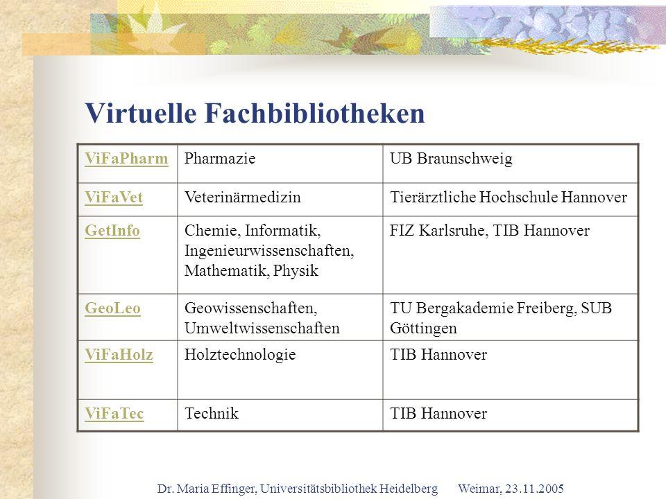 Dr. Maria Effinger, Universitätsbibliothek Heidelberg Weimar, 23.11.2005 Virtuelle Fachbibliotheken ViFaPharmPharmazieUB Braunschweig ViFaVetVeterinär