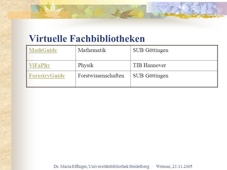 Dr. Maria Effinger, Universitätsbibliothek Heidelberg Weimar, 23.11.2005 Virtuelle Fachbibliotheken MathGuideMathematikSUB Göttingen ViFaPhyPhysikTIB
