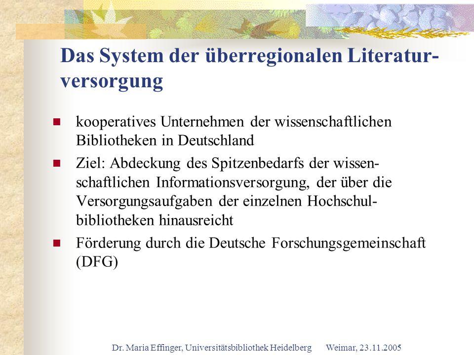 Dr. Maria Effinger, Universitätsbibliothek Heidelberg Weimar, 23.11.2005 Das System der überregionalen Literatur- versorgung kooperatives Unternehmen