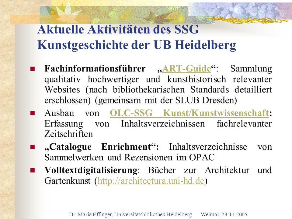 Dr. Maria Effinger, Universitätsbibliothek Heidelberg Weimar, 23.11.2005 Aktuelle Aktivitäten des SSG Kunstgeschichte der UB Heidelberg Fachinformatio
