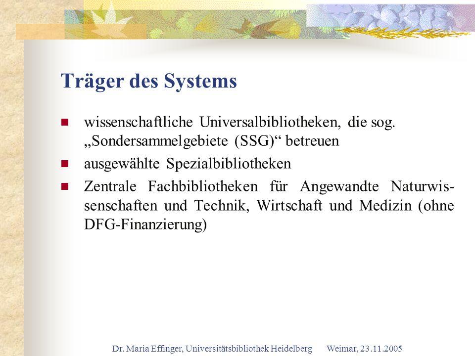 Dr. Maria Effinger, Universitätsbibliothek Heidelberg Weimar, 23.11.2005 Träger des Systems wissenschaftliche Universalbibliotheken, die sog. Sondersa