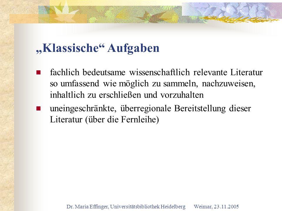 Dr. Maria Effinger, Universitätsbibliothek Heidelberg Weimar, 23.11.2005 Klassische Aufgaben fachlich bedeutsame wissenschaftlich relevante Literatur