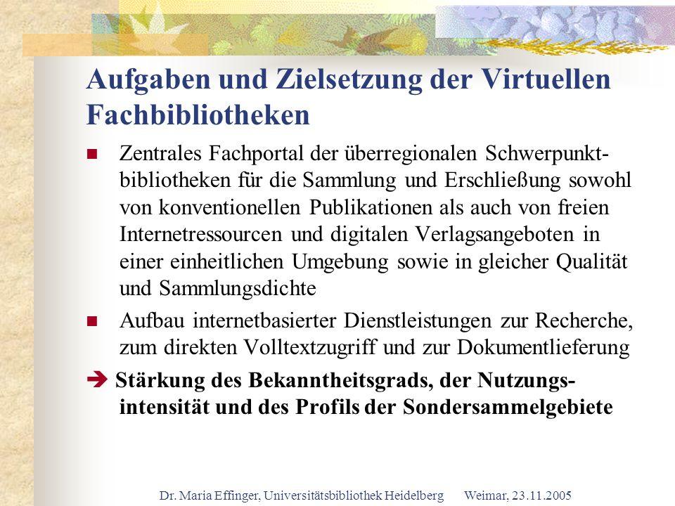 Dr. Maria Effinger, Universitätsbibliothek Heidelberg Weimar, 23.11.2005 Aufgaben und Zielsetzung der Virtuellen Fachbibliotheken Zentrales Fachportal