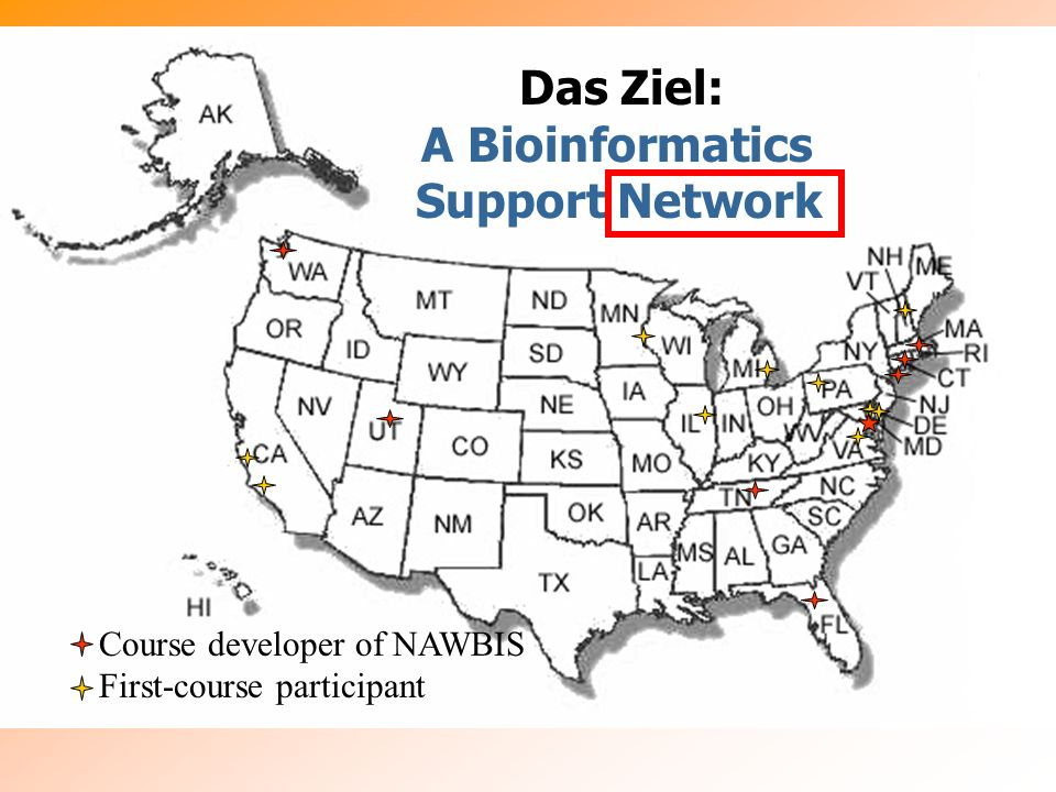 Das Ziel: A Bioinformatics Support Network Course developer of NAWBIS First-course participant