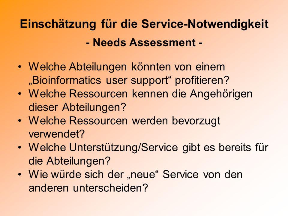 Einschätzung für die Service-Notwendigkeit - Needs Assessment - Welche Abteilungen könnten von einem Bioinformatics user support profitieren? Welche R