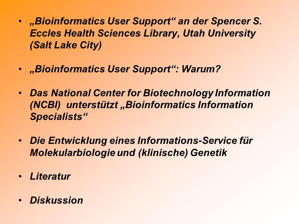 Das Ziel: A Bioinformatics Support Network Course developer of NAWBIS First-course participant