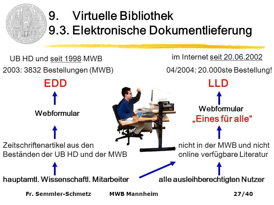 Fr. Semmler-Schmetz27/40 MWB Mannheim 9. Virtuelle Bibliothek 9.3.
